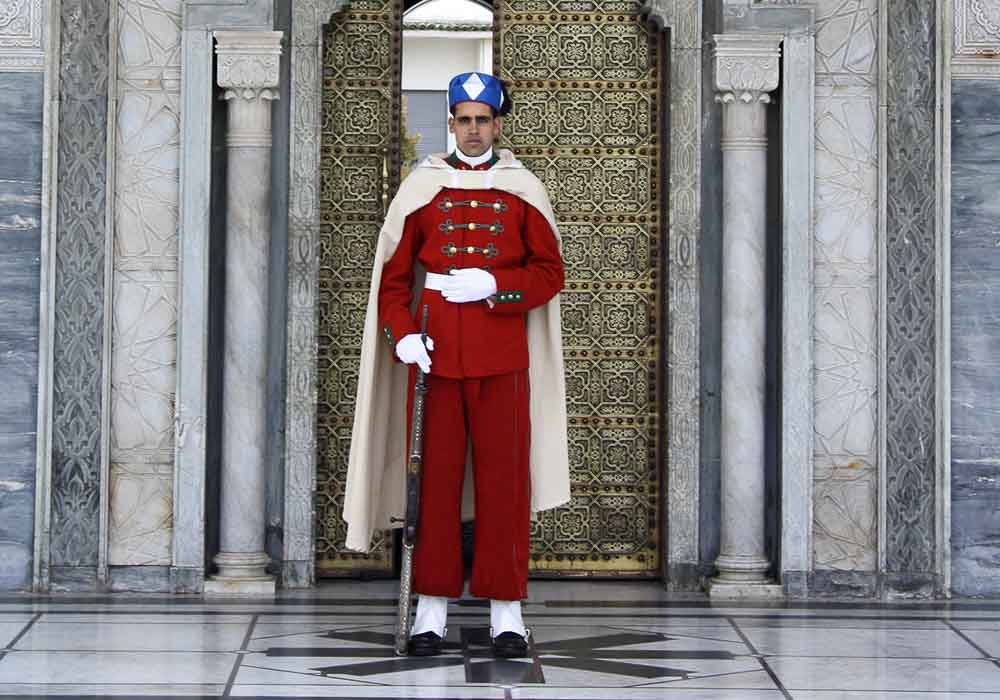 A traditionally uniformed Moroccan guard