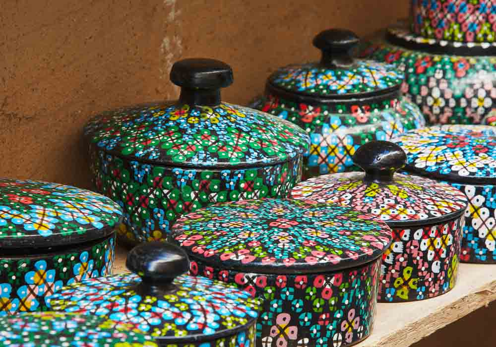 Colourful wood storage baskets in Fez