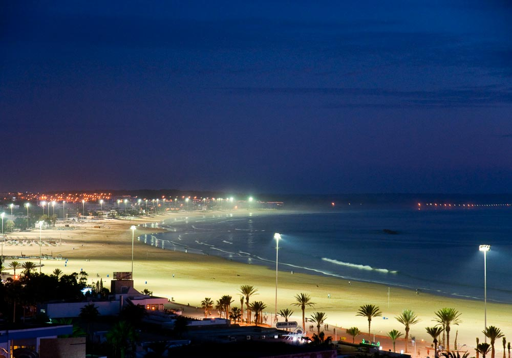 Agadir beach at night