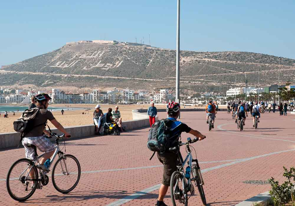 Cycling on Agadir seafront