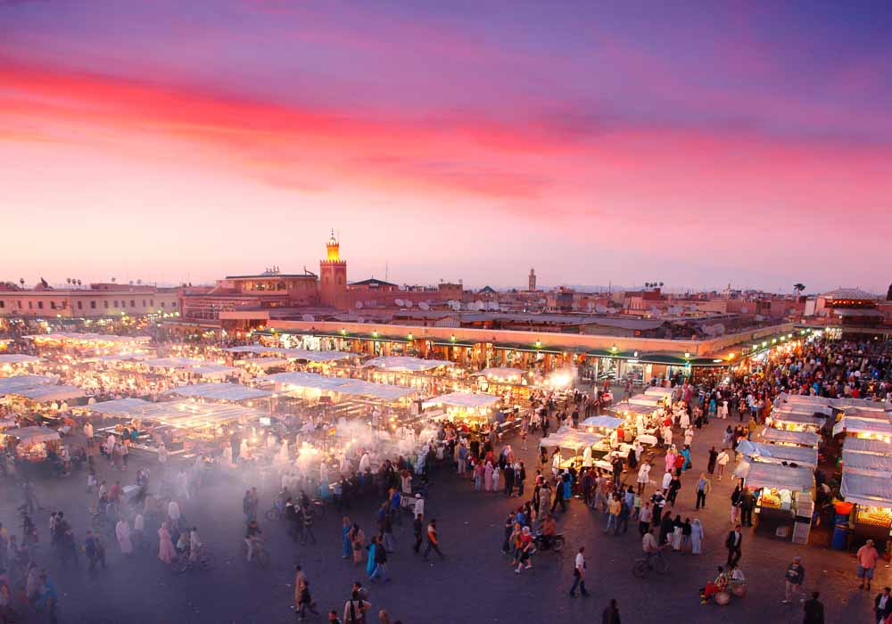 Djemaa el-Fna Square - as the sun sets, the square comes alive
