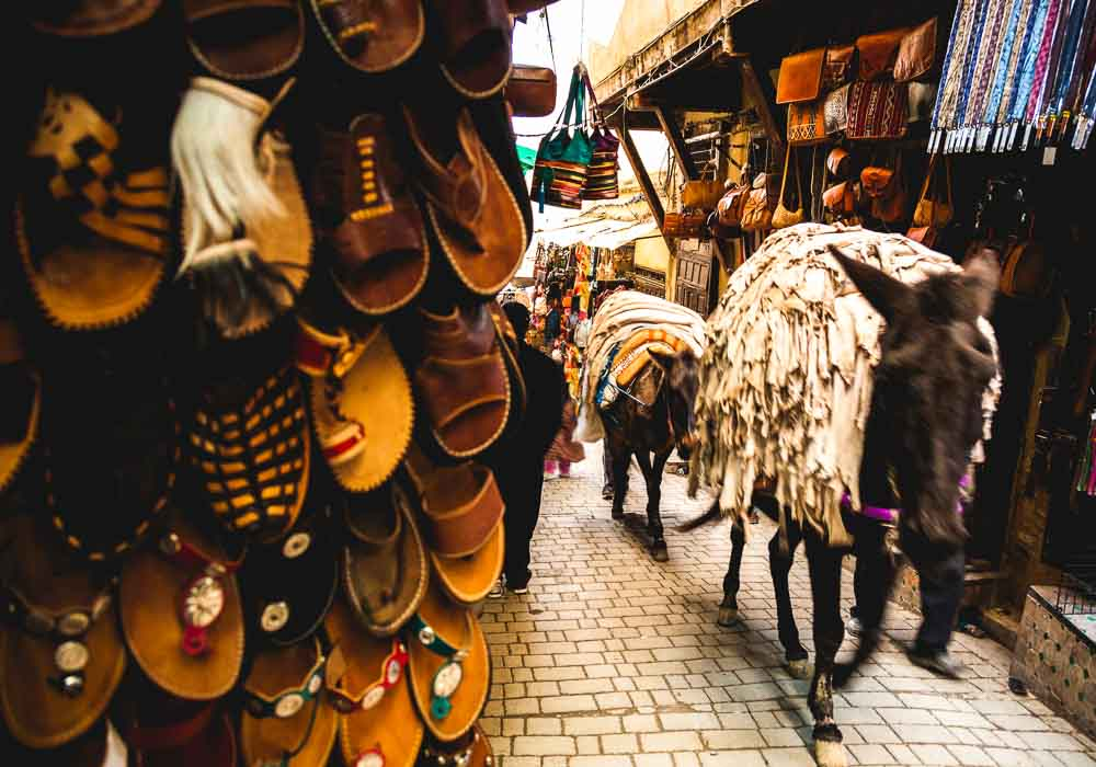 Leather shoes in the medina in Fez