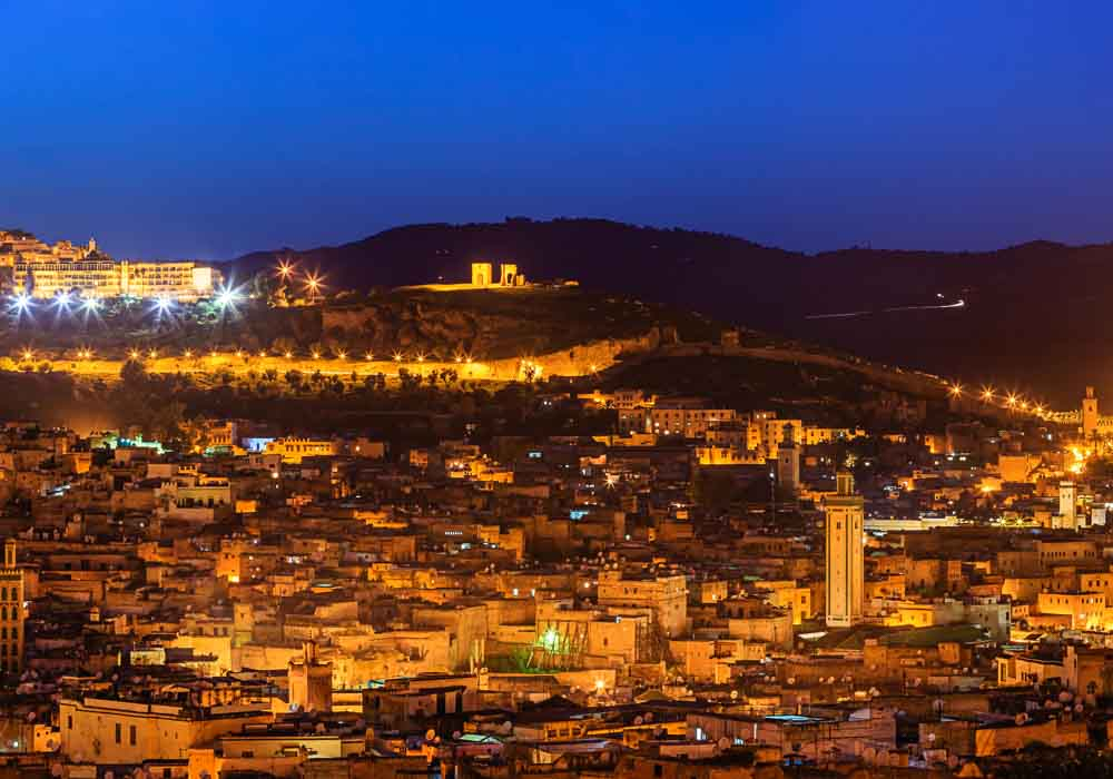 Fez at night, ablaze with light