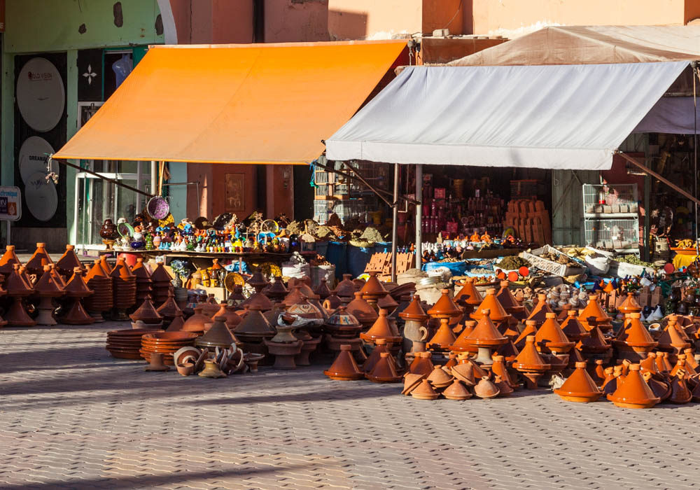 A market stall in Ouarzazate, selling traditional wares