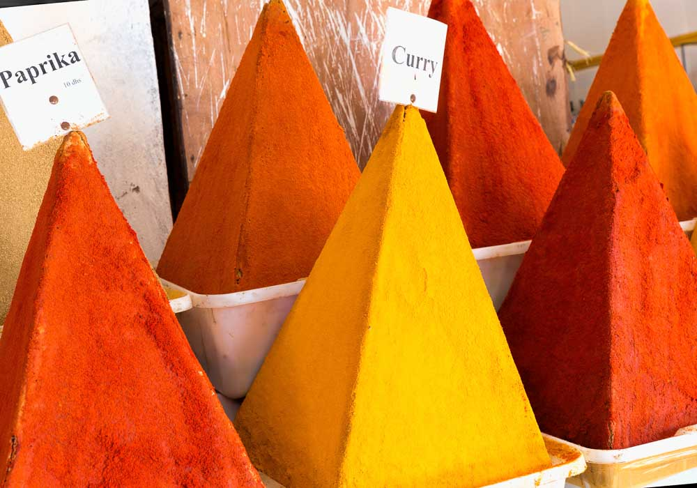 Brightly coloured spices for sale in Casablanca market