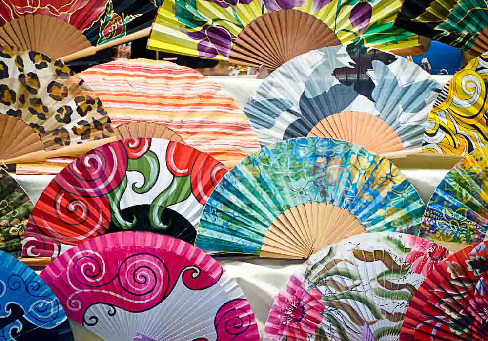 colorful fans in a market