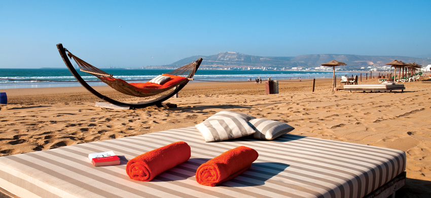 relaxing on a beautiful bed on the beach in agadir