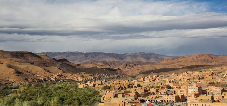 View of a town near the Atlas Mountains