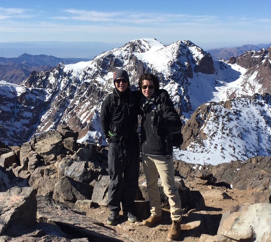 Andrew and Jacob having conquered Mt Toubkal
