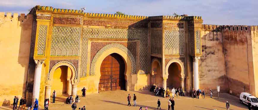 The giant ornate gate at the Meknes medina