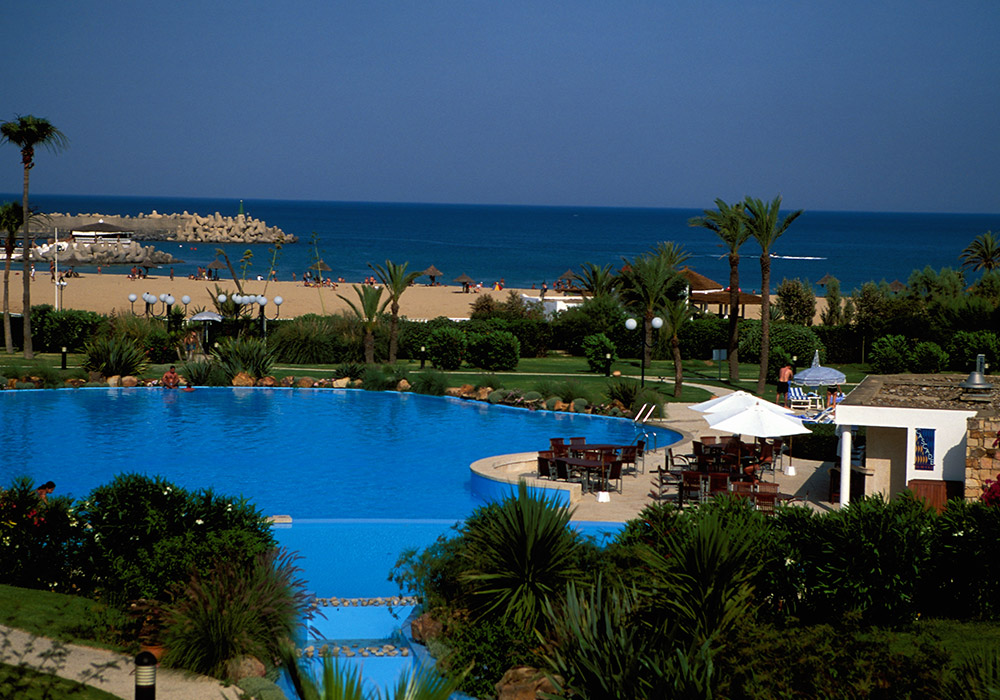 Enjoy a dip in the hotel pool or the Mediterranean beyond
