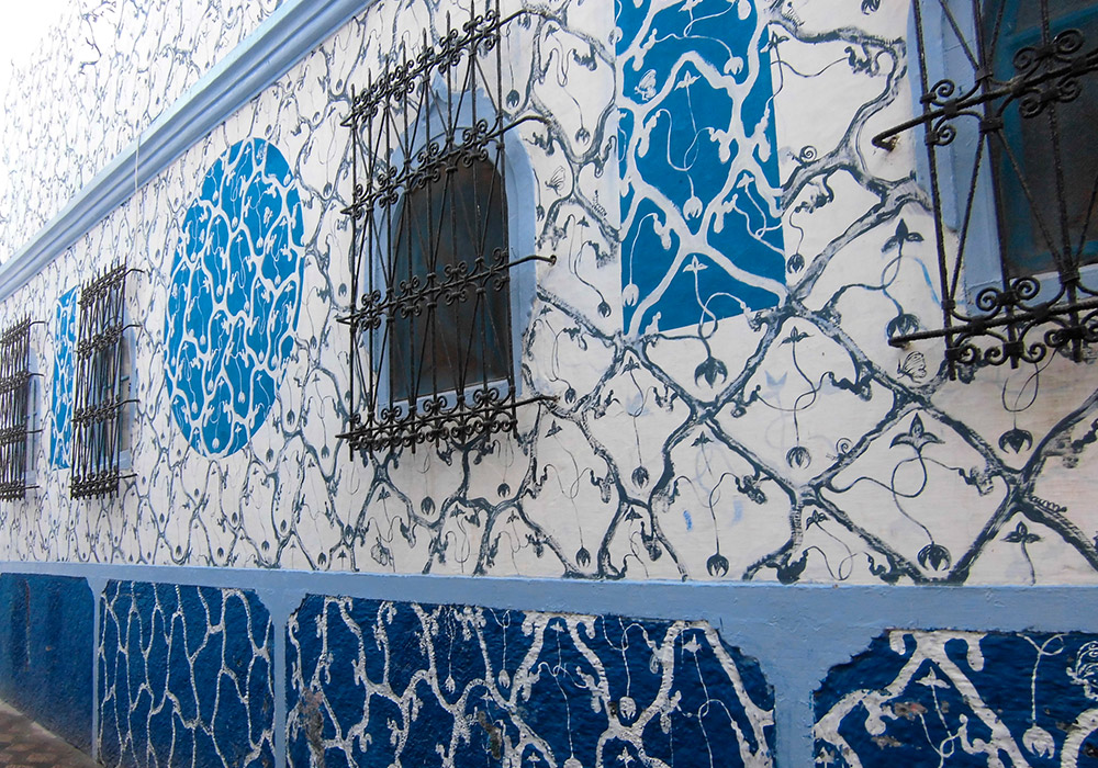 Intricate artwork adorns walls across the town