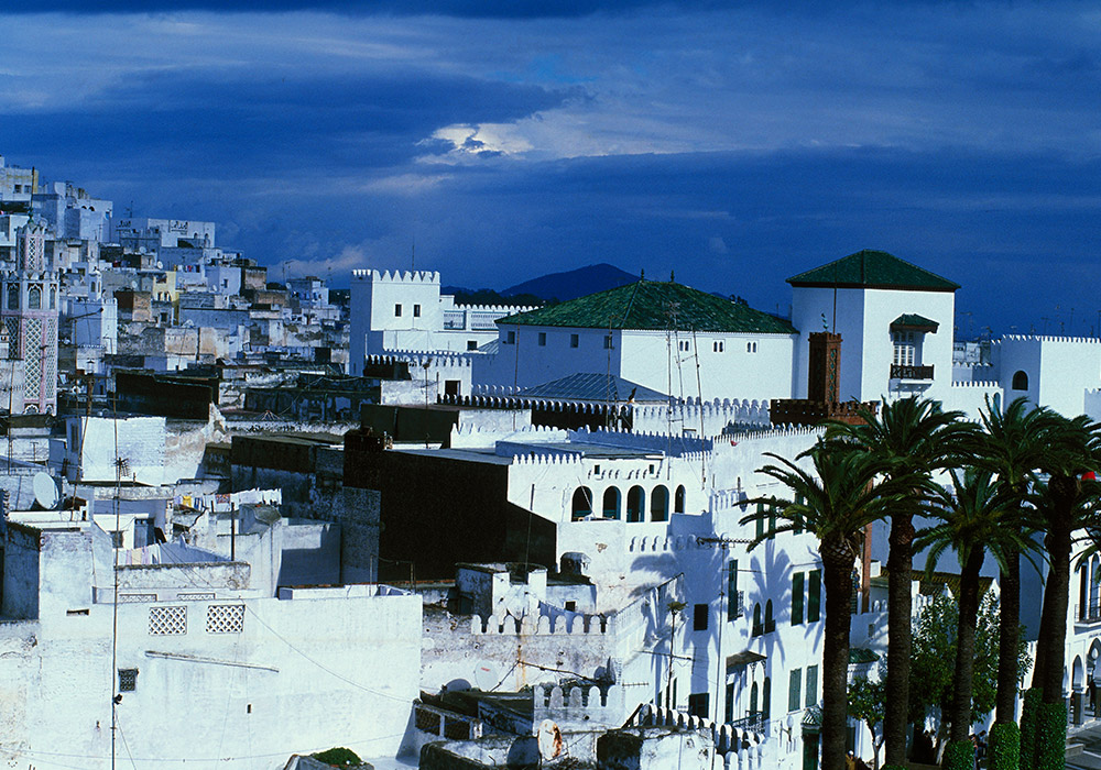 The white walled buildings of the city
