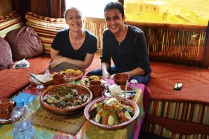 Couple trying traditional Berber cooking